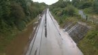 Flooded railway line