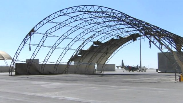 Burnt out hangar