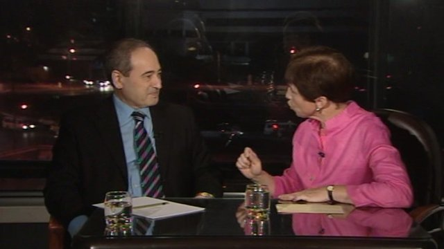 Syrian deputy Foreign Minister Faisal Mekdad and the BBC&#039;s Lyse Doucet