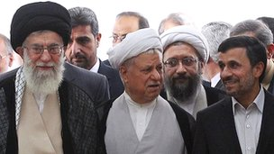 Supreme leader Ayatollah Ali Khamenei, left, chief of Expediency Council, Akbar Hashemi Rafsanjani, centre and President Mahmoud Ahmadinejad, right, arrive at the opening session of the Non-aligned Movement in Tehran (30 August 2012 photo released by official website of the Iranian supreme leader's office)