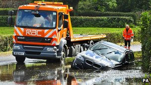 Car submerged by flooding, North Somerset