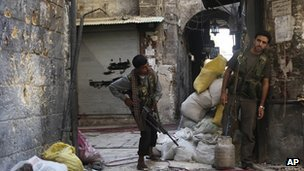 Free Syrian Army soldier during fighting in the old city of Aleppo  Sept. 24, 2012.
