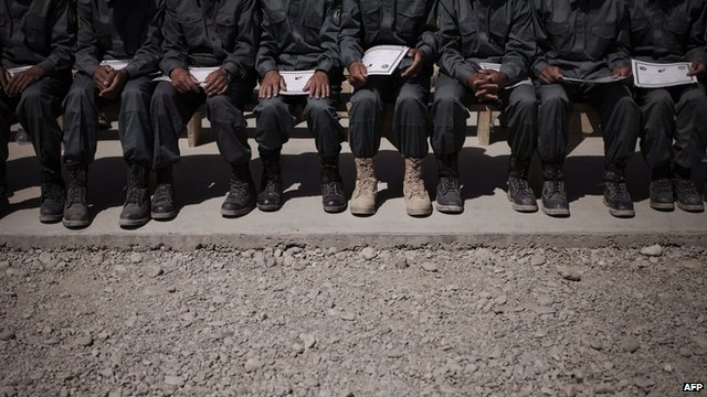 A line of Afghan recruits sitting on a bench