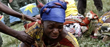 Woman mourning in DR Congo