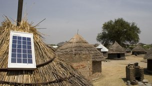 Solar panel on roof of hut in South Sudan
