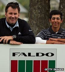 Sir Nick Faldo congratulates Jack Singh-Brar of England after The Faldo Series Grand Final at the Lough Erne resort in Northern Ireland