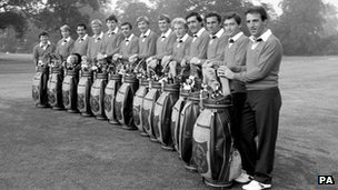 Sir Nick Faldo (fifth from left) with the 1985 European Ryder Cup team
