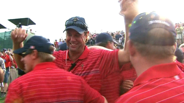 Paul Azinger (centre) celebrates USA's 2008 Ryder Cup win