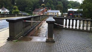 High water level at Oldgate bridge in Morpeth