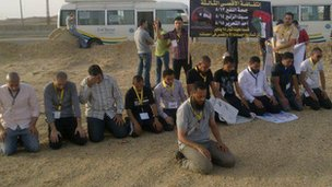 Abubakr holding prayers near Israeli border