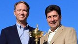 U.S. Ryder Cup Captain Davis Love III (left) and European Captain Jose Maria Olazabal (right) pose with the trophy in front of the clubhouse at Medinah