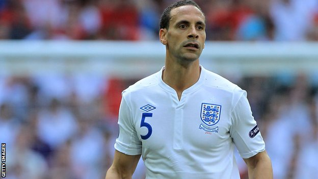 Rio Ferdinand plays for England v Switzerland in June 2011