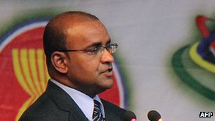 Guyanan President Bharrat Jagdeo addressing a conference in Brazzaville in 2011