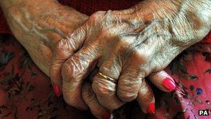 Elderly persons hands