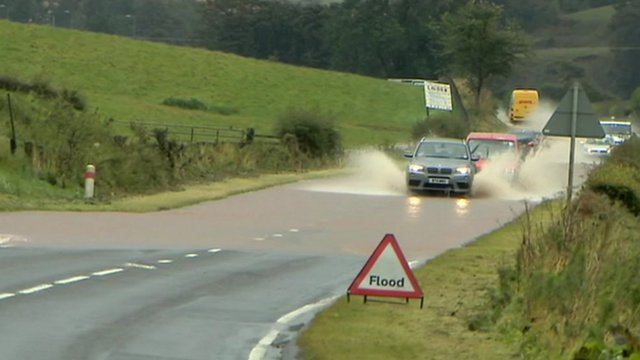 Flooded road in Lauder, Scottish Borders
