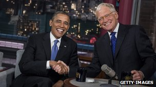 David Letterman and Barack Obama