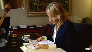 JK Rowling at her desk in Edinburgh