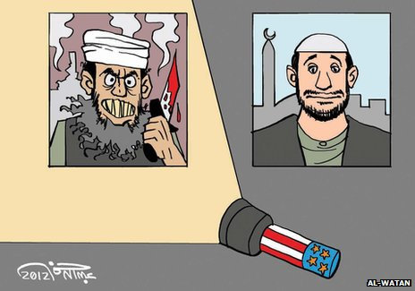 Cartoon published by al-Watan portraying two images of Arab men being interviewed for television side by side