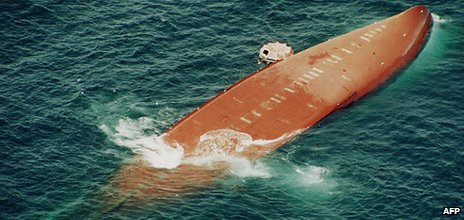 The capsized Joola photographed from the air