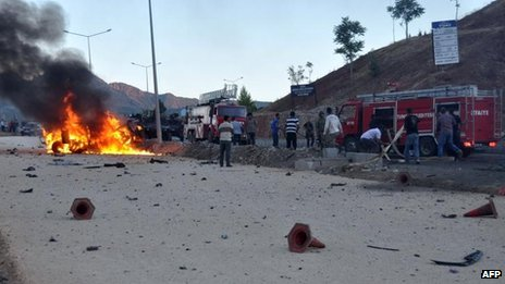 A vehicle burns after an explosion in the center of Tunceli on Tuesday