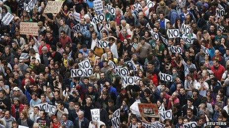 "Protesters gather close to Spain's parliament during an ""Occupy Congress"" demonstration in Madrid on Tuesday"