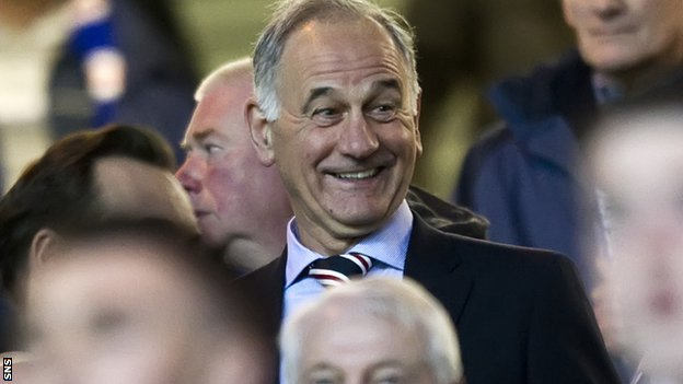 Charles Green enjoys himself in the Ibrox crowd