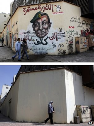 Photograph showing a mural attacking Field Marshal Hussein Tantawi and Hosni Mubarak on Cairo's Mohammed Mahmoud street (22 March 2012) and the wall after being painted by the Egyptian authorities (19 September 2012)