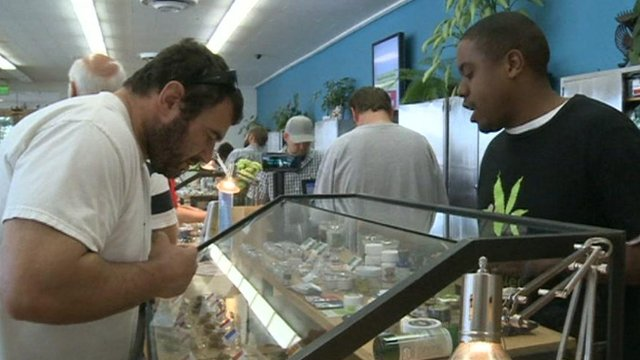 Counter at the Harborside marijuana dispensary
