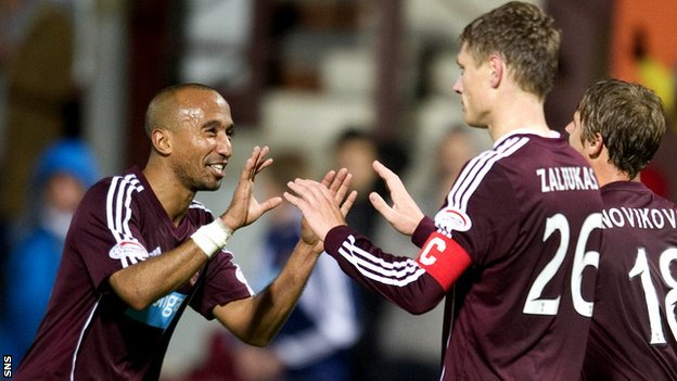 Hearts captain Marius Zaliukas