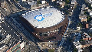 An aerial view of the Barclays Center