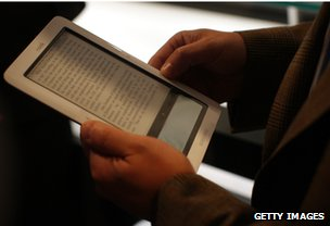 Reader using a Nook e-reader