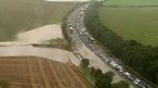 Vehicles trapped on A1