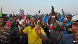 Striking platinum miners earlier this month
