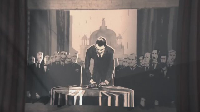 An illustration of Edward Carson signing the Ulster Covenant