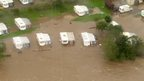 Flooded caravan site at Catterick