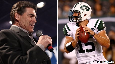 Rick Perry (left), Tim Tebow (right)