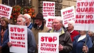 Protesters outside Bath Guildhall on Wednesday