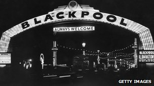 A view through the Welcome Arch on Blackpool promenade in 1954