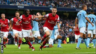 Laurent Koscielny celebrates his goal for Arsenal against Manchester City on Sunday