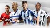Left to right: Nick Powell (Man Utd), Bobby Zamora (QPR), Shane Long (West Brom), Shola Ameobi (Newcastle)