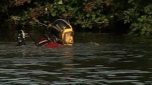Police diver in the River Cam