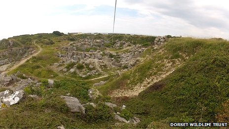 Kingbarrow Quarry as seen through the Dorset Wildlife Trust's zip wire camera