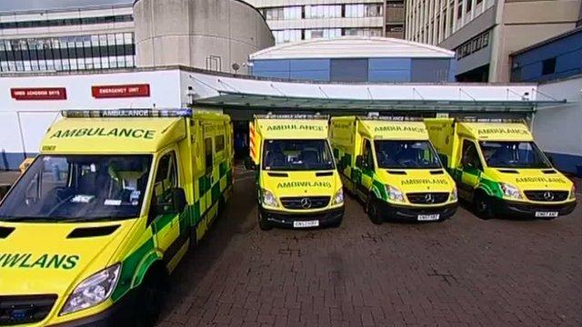 Ambulances at the University Hospital of Wales, Cardiff