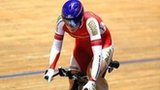 Becky James on her way to victory in the Women's 500m Time Trial