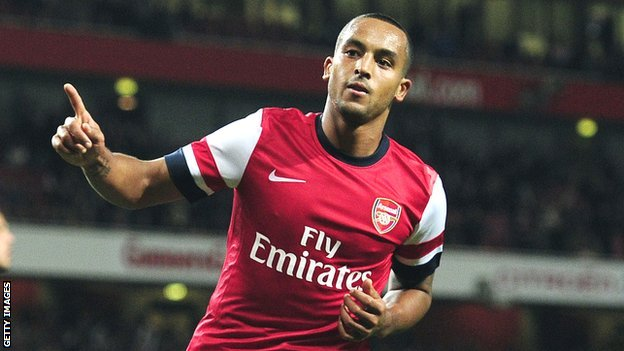 Theo Walcott celebrates scoring against Coventry