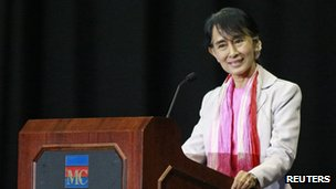 Aung San Suu Kyi, pictured in Indiana on 25 September 2012