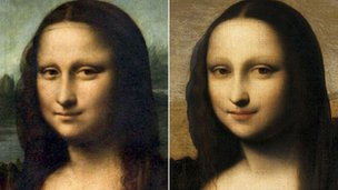 Mona Lisa (l) and the Isleworth Mona Lisa (r)