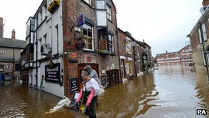 Flooding in York on Wednesday
