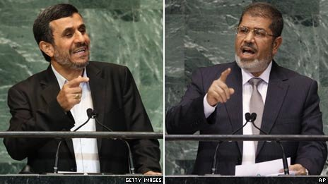 Iranian President Mahmoud Ahmadinejad (L) and Egyptian President Mohammed Morsi during their speeches at the UN