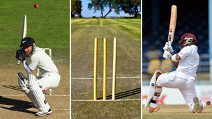 From left to right, a bouncer, a wicket and a player being caught leg before wicket